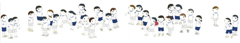 "「藤永第一小学校(1年3組 ドッヂボール)」 / ""Fujinaga daiichi elementary school (The first grade, Dodge ball)"", 2004, acrylic on cloth"