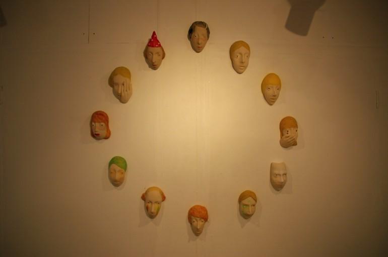 「おめん」部分/ ''mask'' detail, 2009, ceramic based sculpture