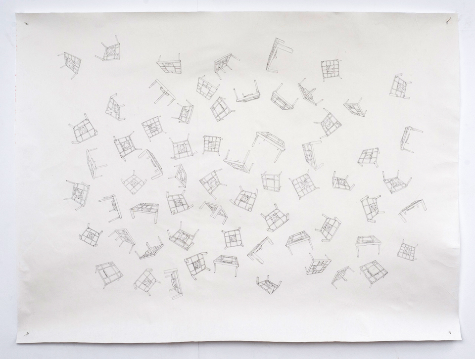 "「浮遊」/ ""floats"", 2011, mechanical pencil on Japanese paper"