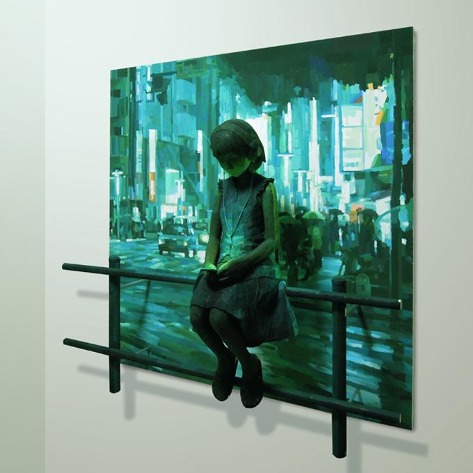 「音の中」/ ''in the sound'', 2012, panting, polystyrene based sculpture