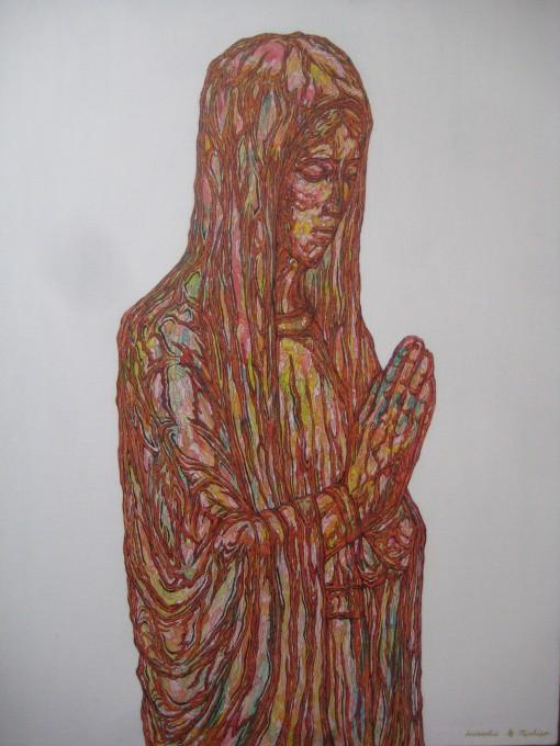 """「無題」 / """"untitled"""" 2012 acrylic, pen ,on canvas"""
