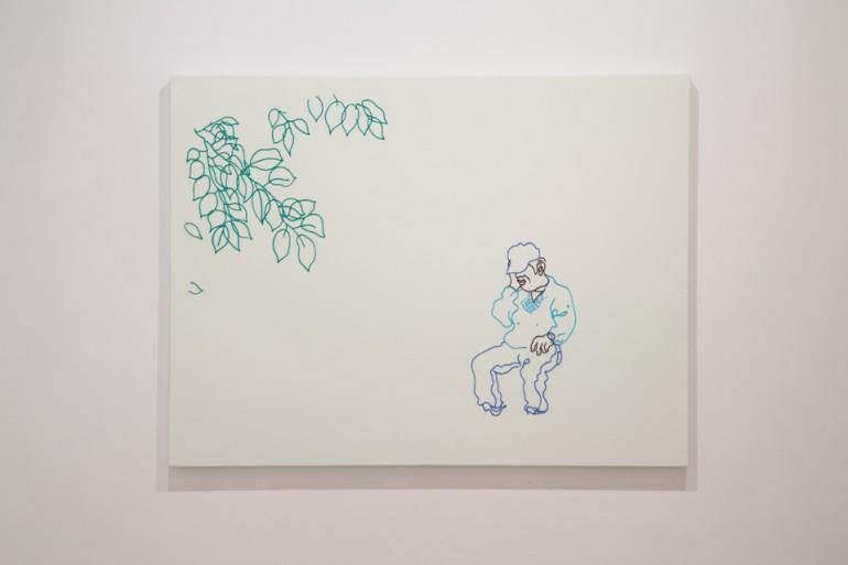 """「はさくらいこう」 / """"rest under the cherry leaves"""", 2009, wool,cotton,silk,canvas"""