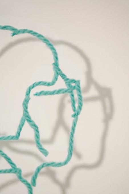 """「川を越え」 / """"Over the river"""", 2009, yarn on plexiglass"""