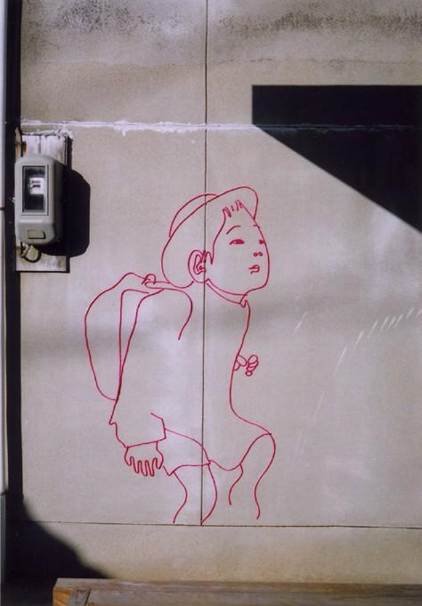 """「少年」くん  /  """"a rancel boy"""", 2006, yarn at Naoshima"""