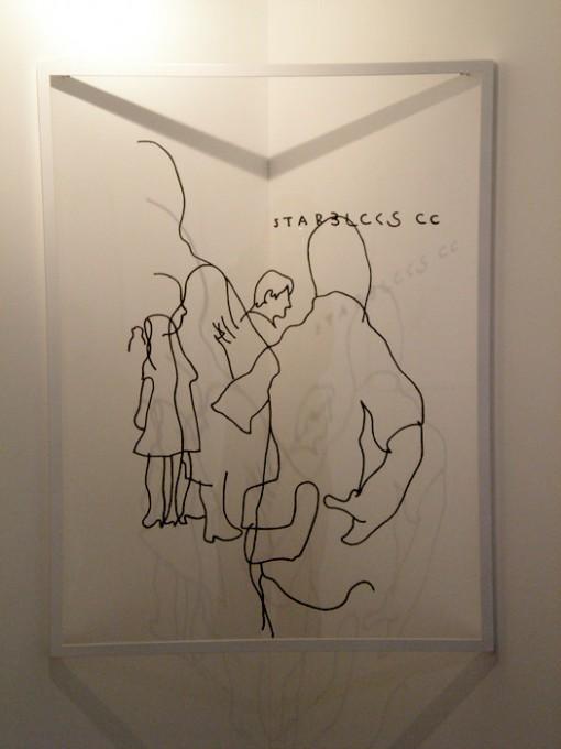 """「スクランブル」/ """"Scramble Crossing"""", 2008, wool on plexiglass"""