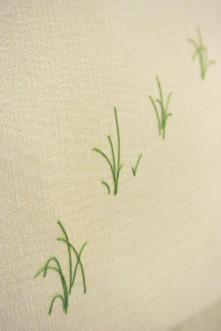 """「いね」/ """" rice plant """", 2014, silk,cheesecloth,oil,panel"""