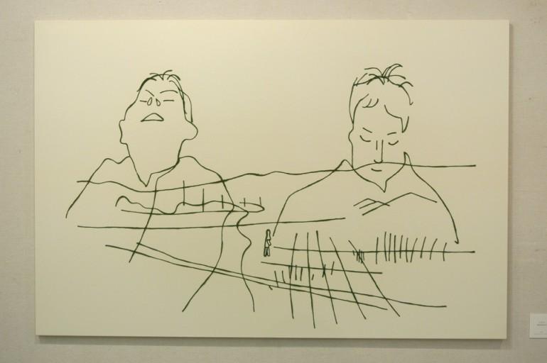 """「 ララバイ(橿原神宮前行き)」/  """"  Lullaby  ~for Kashiharajinguumae Station~"""", 2007, wool,oil,canvas"""