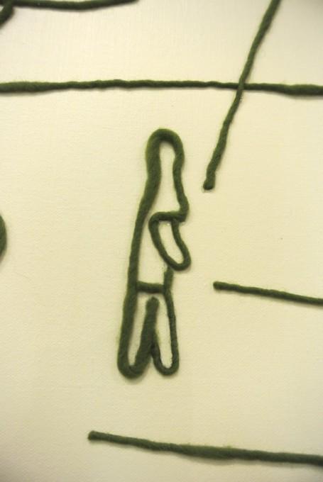 """「 ララバイ(橿原神宮前行き)」部分/ Detail of """"  Lullaby  ~for Kashiharajinguumae Station~"""", 2007, wool,oil,canvas"""