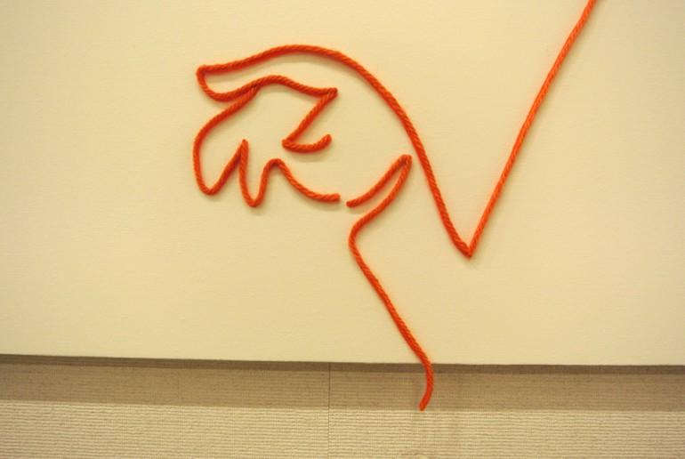 """「わになって」/""""Ring of smiling"""", 2010, yarn,wire,acrylic,canvas,panel"""