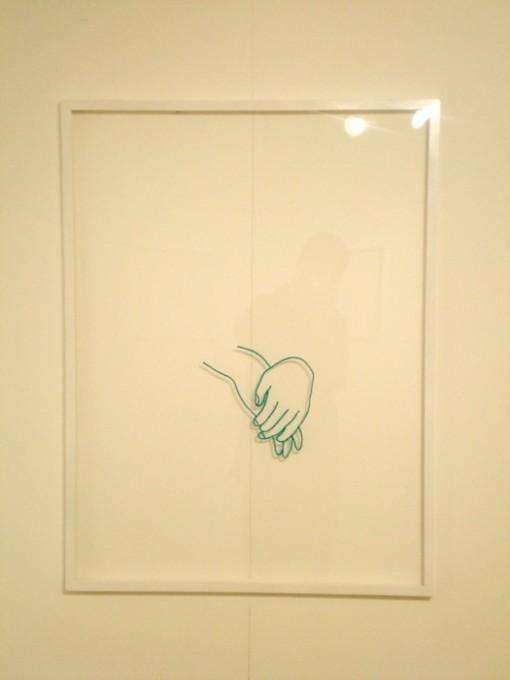 """「手」/ """"The Hands"""", 2008, wool on plexiglass"""