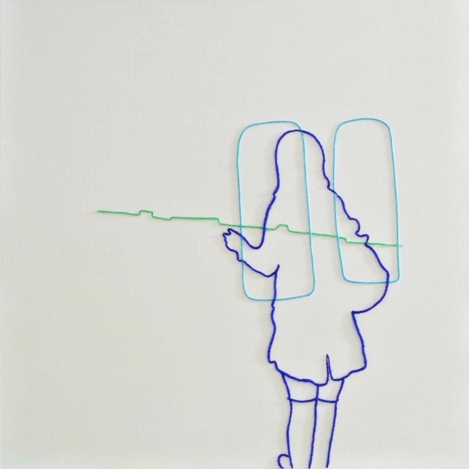 """「とびらのまえ、まどのむこう。」/""""Here & Over there"""",2015,wool,acrylic,canvas"""