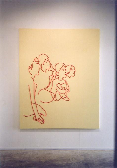 """「リビングライブ」/ """" living live """", 2008, wool,oil,canvas"""