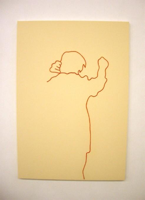 """「なんだっけ」/ """"what was that?"""",2007,wool,oil,canvas"""