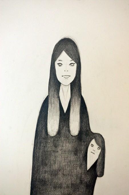 """「母と子」/ """"mother and child"""", 2012, pencil on paper"""