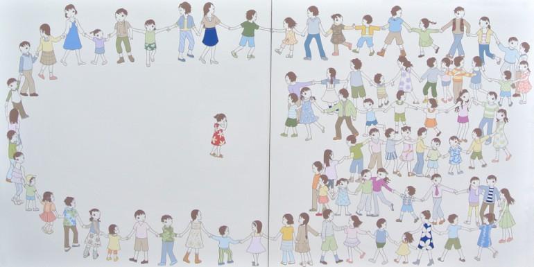 """「かごめ かごめ」 / """"Kagome Kagome"""", 2010, acrylic on paper"""