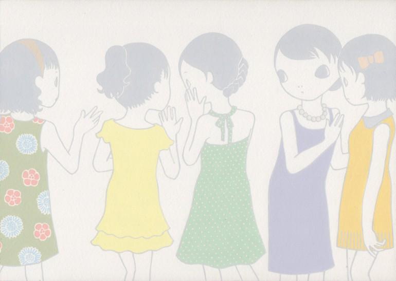 """「うわさばなし」/ """"gossip"""" ,2014, acrylic on paper"""
